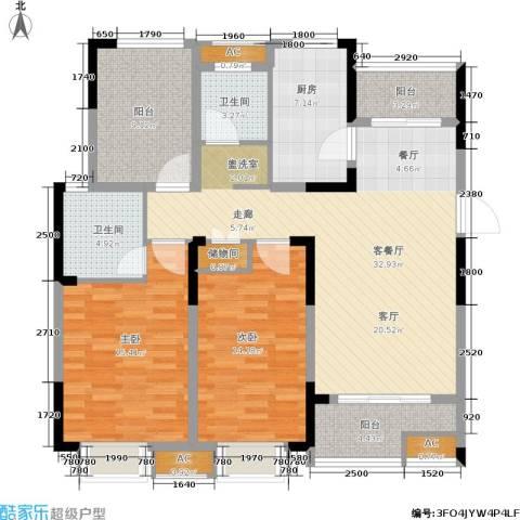 鑫苑湖居世家2室1厅2卫1厨115.00㎡户型图