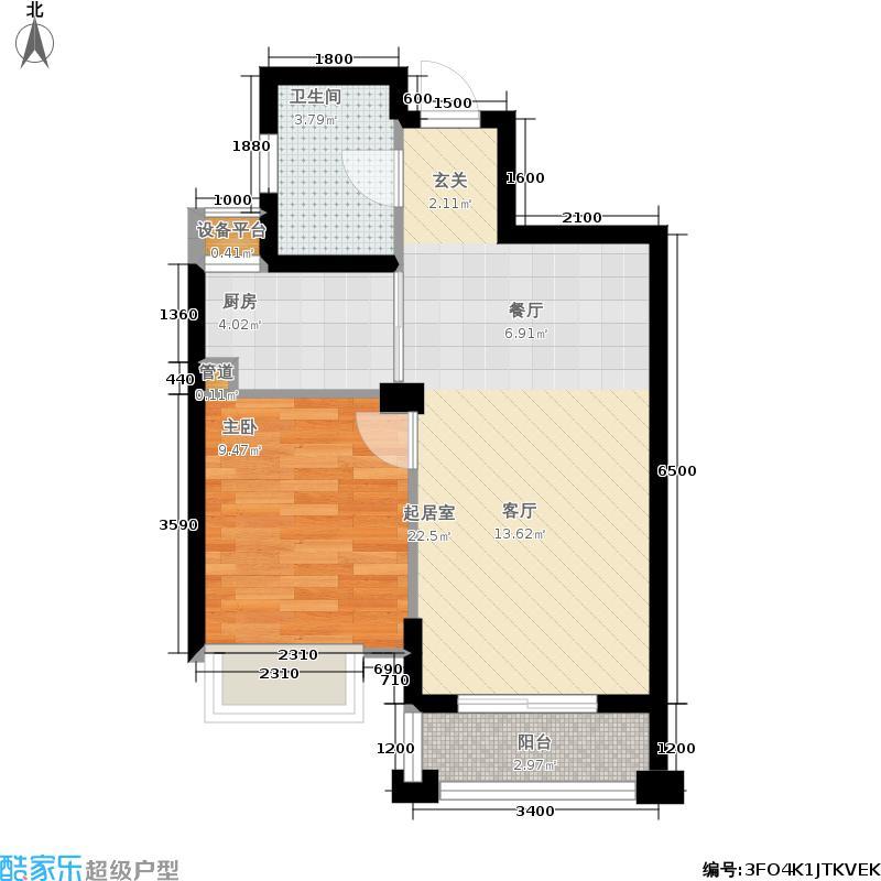 嘉凯城名城博园59.00㎡户型1室2厅