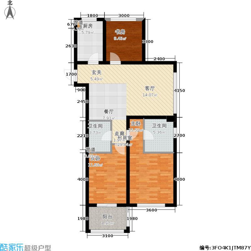 嘉凯城名城博园113.00㎡户型3室2厅