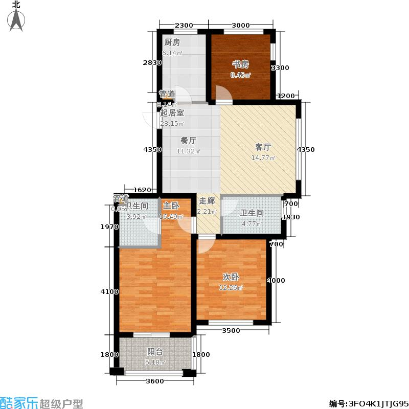 嘉凯城名城博园112.00㎡1#楼3E户型3室2厅