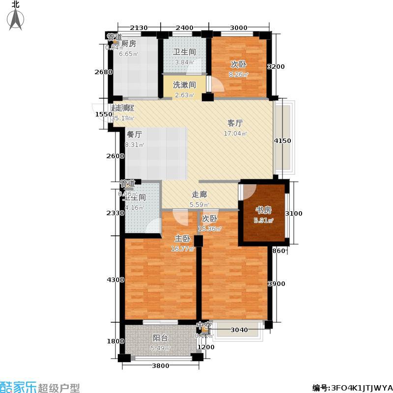 嘉凯城名城博园138.00㎡4C1偶数层户型4室2厅