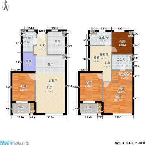 华府国际4室1厅3卫1厨123.00㎡户型图