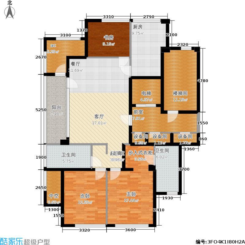 绿城百合花园146.00㎡D1#楼F户型3室2厅