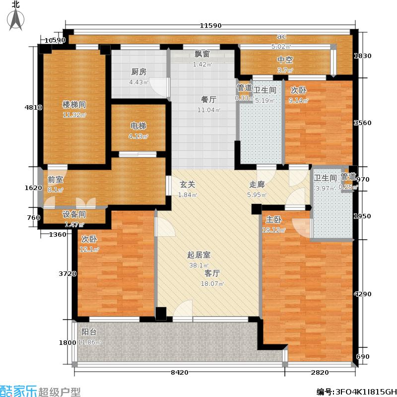 绿城百合花园136.00㎡D4#楼G户型3室2厅