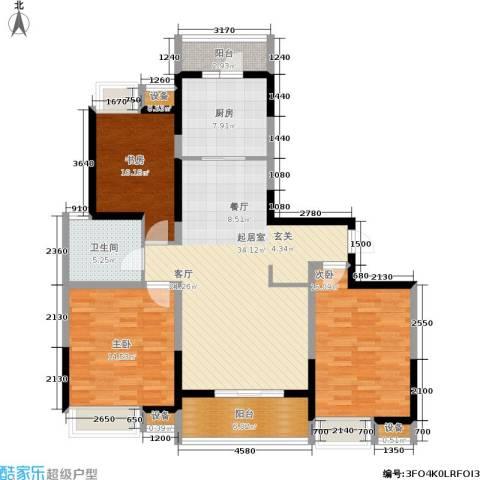 江桥万达广场3室0厅1卫1厨112.45㎡户型图