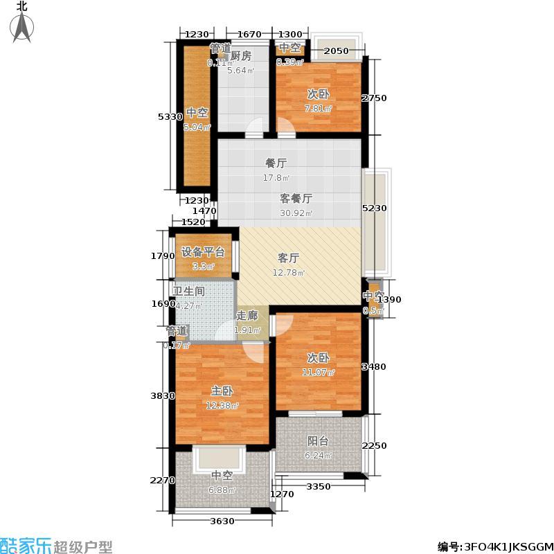 理想银泰城110.00㎡C户型3室2厅