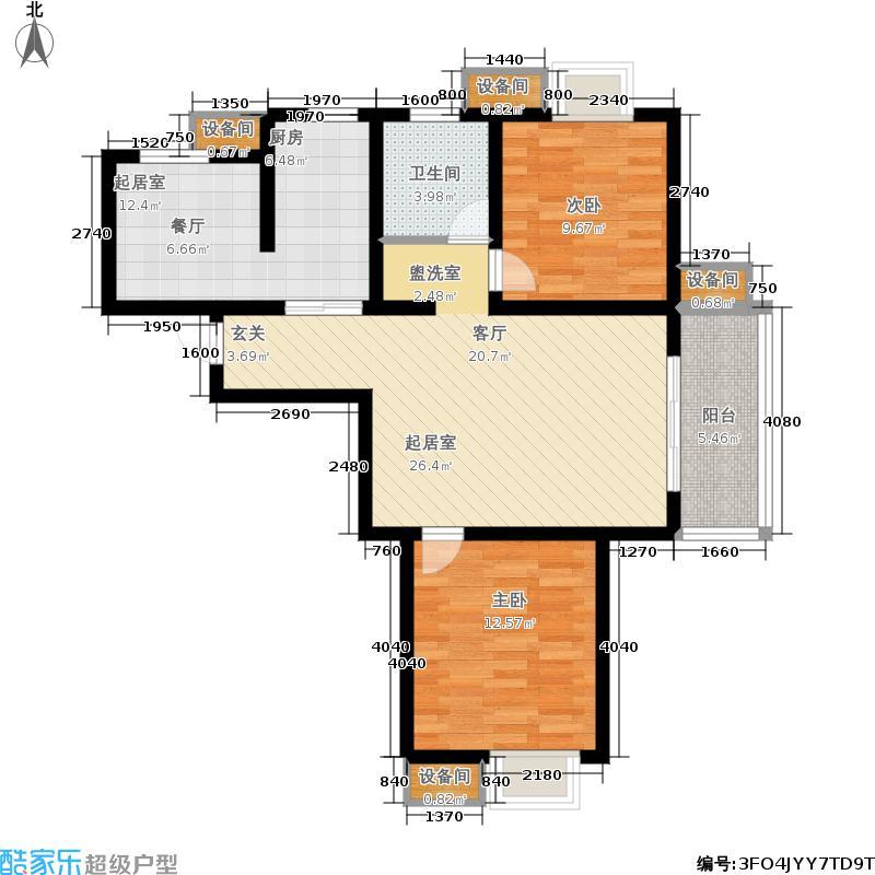 苏宁环球天润城86.12㎡十四街区13#标准层D1户型