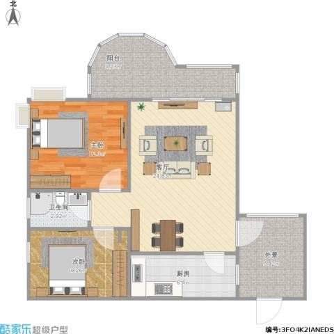 金辉融侨半岛云满庭B区2室1厅1卫1厨98.00㎡户型图