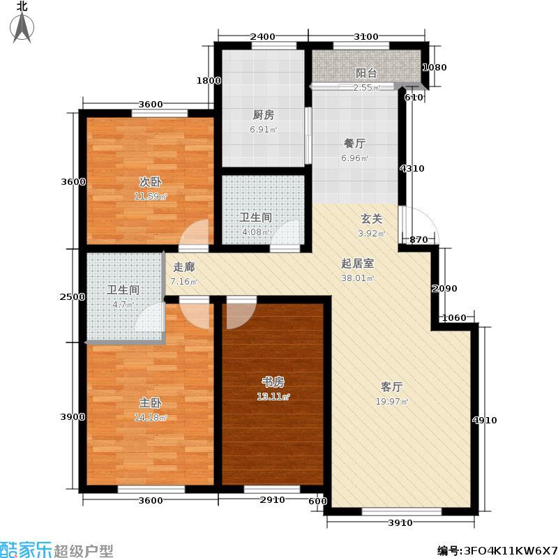 盛阳华苑126.27㎡B户型3室2厅