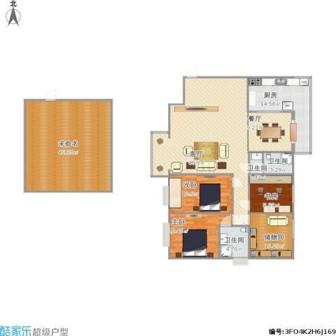 枫林.和平花园3室2厅3卫1厨221.00㎡户型图