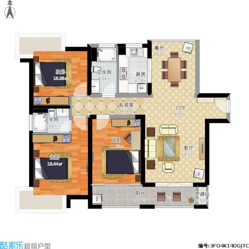 202、203栋4-22偶数层、209栋4-18偶数层1单元01户型、2单元02户型108㎡两房两厅