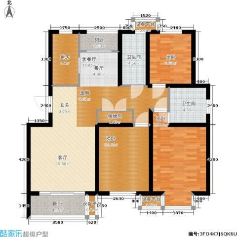 维多利金色华府3室1厅2卫1厨119.00㎡户型图