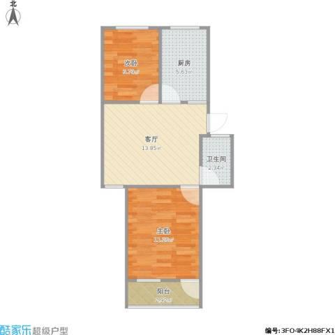 虹苑新寓2室1厅1卫1厨58.00㎡户型图
