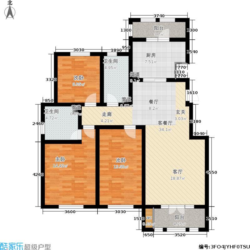 龙泽馨园138.88㎡一期洋房产品11、13-16号楼标准层C户型
