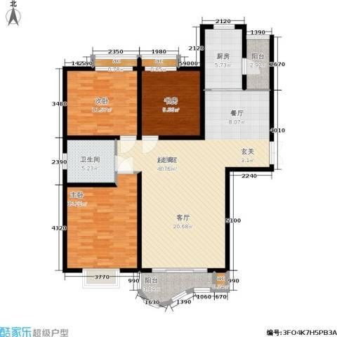 爱家星河国际3室0厅1卫1厨100.00㎡户型图