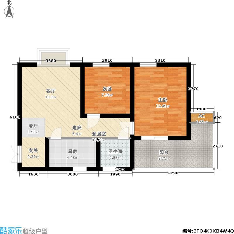 华府西城港湾76.80㎡B户型2室2厅