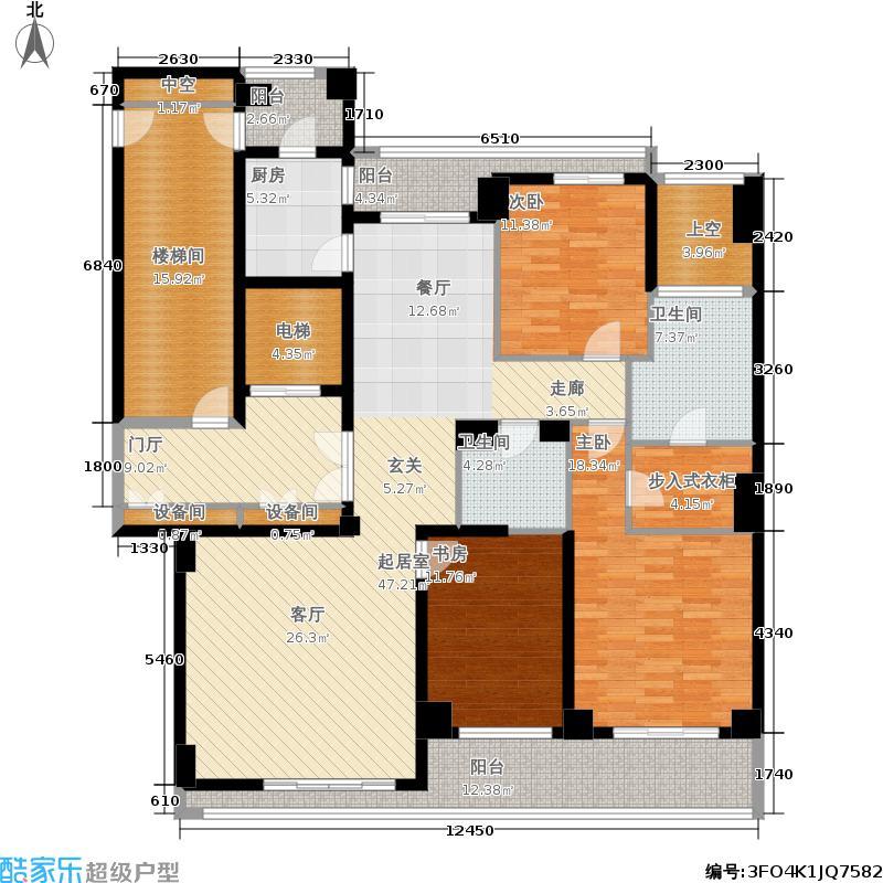 昆仑公馆180.00㎡1号楼中间套-在售户型3室2厅