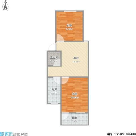 虹苑新寓2室1厅1卫1厨46.42㎡户型图
