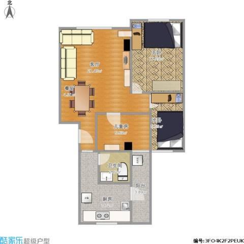 裕发楼3室1厅1卫1厨64.12㎡户型图