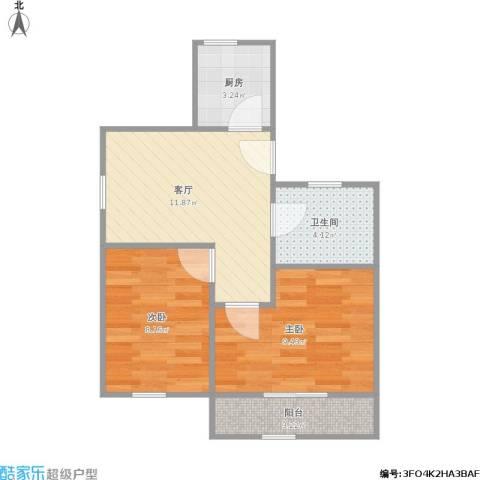 龙柏三村2室1厅1卫1厨55.00㎡户型图