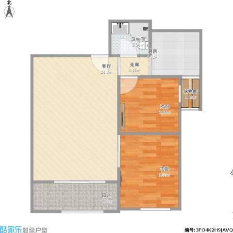 青铁阳光小区2室1厅1卫1厨70.00㎡户型图
