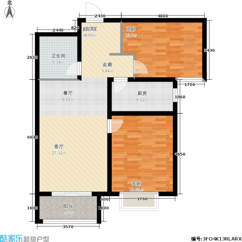 华普城89.54㎡1区1#3#楼E户型2室2厅