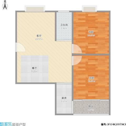 百家湖花园伦敦城2室1厅1卫1厨73.00㎡户型图