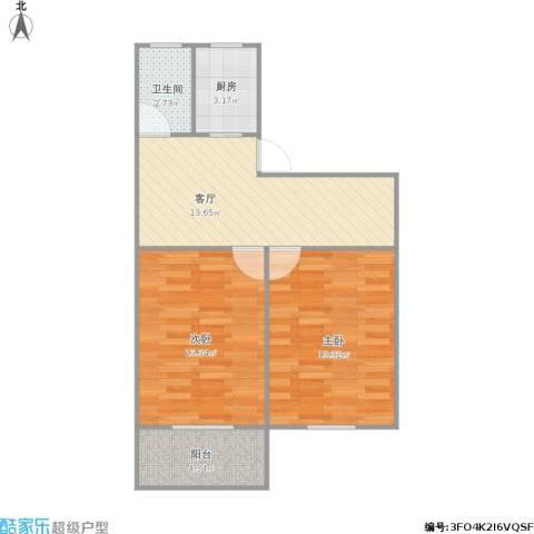 365015胥江新村2室1厅1卫1厨68.00㎡户型图