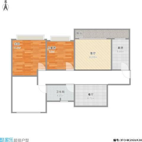 碧桂园・柏丽湾2室2厅1卫1厨69.00㎡户型图