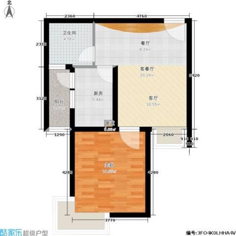 万邦都市花园1室1厅1卫1厨55.00㎡户型图