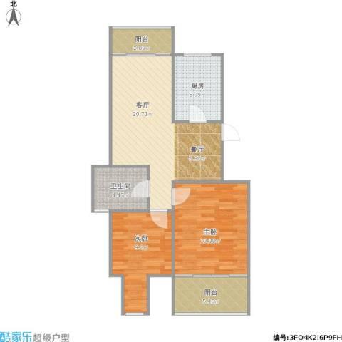 百家湖花园伦敦城2室1厅1卫1厨84.00㎡户型图