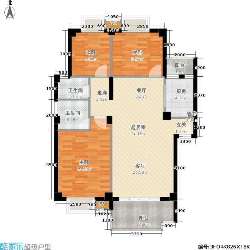 美兰山水天B栋B1单元-三室户型