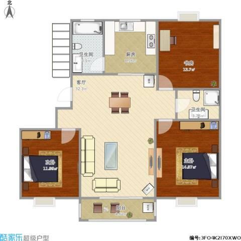华亭新家百合苑3室1厅2卫1厨125.00㎡户型图