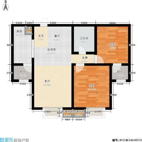 廊坊四季家园2室0厅1卫1厨76.00㎡户型图