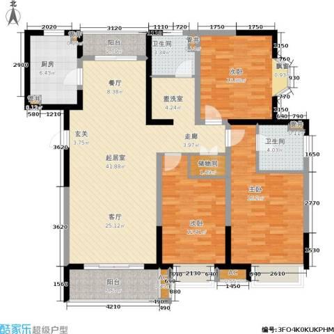绿地蔷薇九里3室0厅2卫1厨125.00㎡户型图