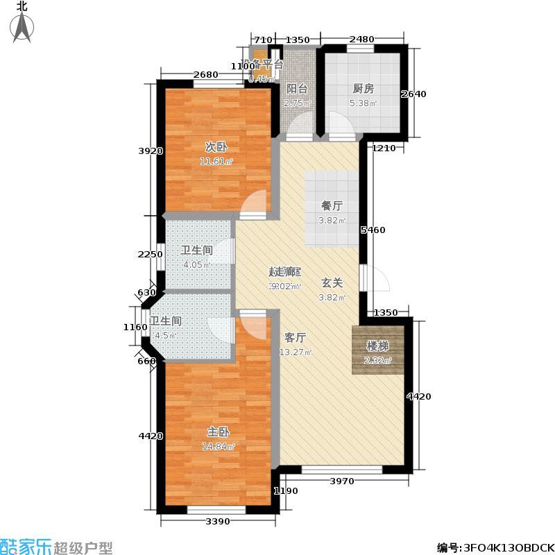 北国奥林匹克花园98.65㎡c5-01户型2室2厅