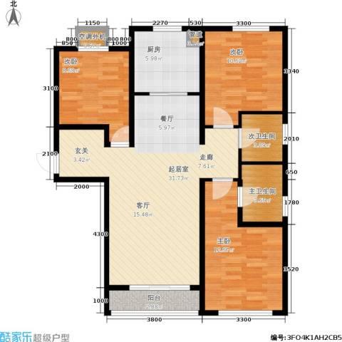 廊坊四季家园3室0厅0卫1厨113.00㎡户型图