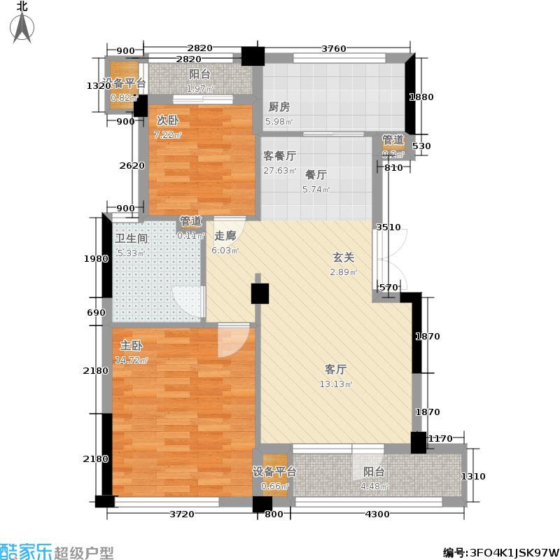 美好桂花溪园89.00㎡B户型2室2厅