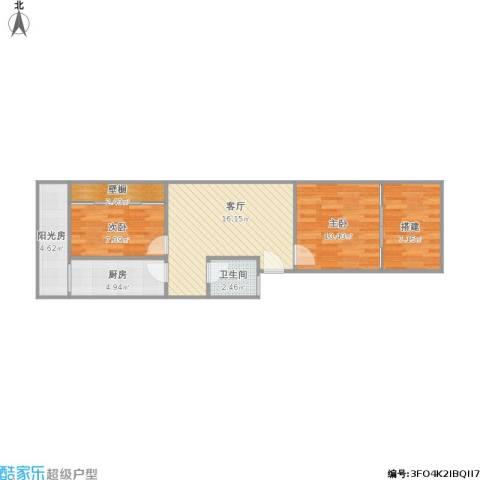 银城花园2室1厅1卫1厨76.00㎡户型图