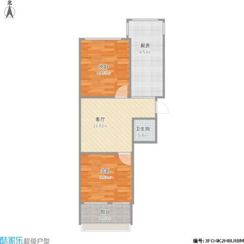 纬北小区2室1厅1卫1厨65.00㎡户型图
