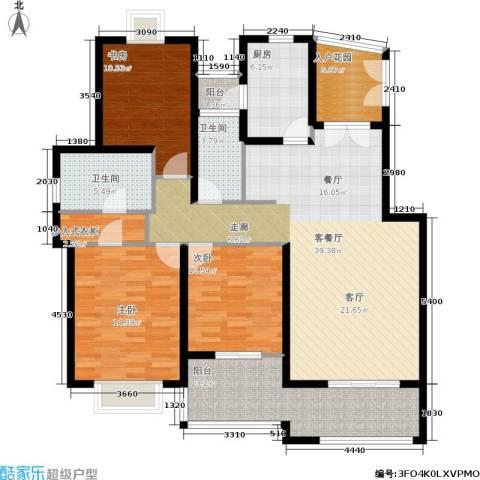 绿地南桥新苑3室1厅2卫1厨129.00㎡户型图
