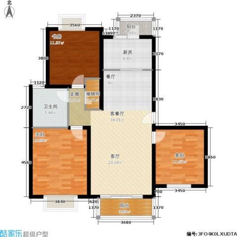 绿地南桥新苑3室1厅1卫1厨105.00㎡户型图