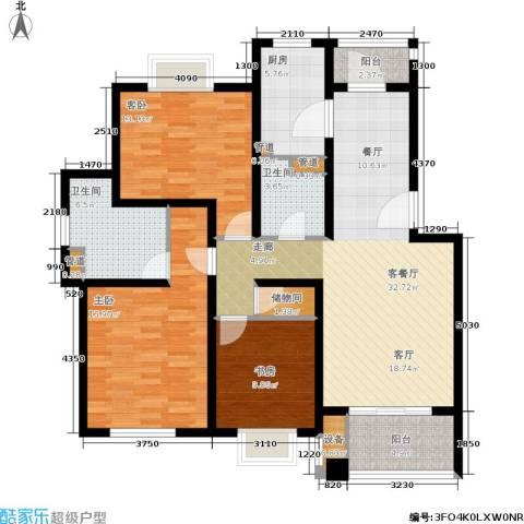 绿地南桥新苑3室1厅2卫1厨114.00㎡户型图