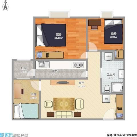 广渠家园3室1厅1卫1厨69.00㎡户型图