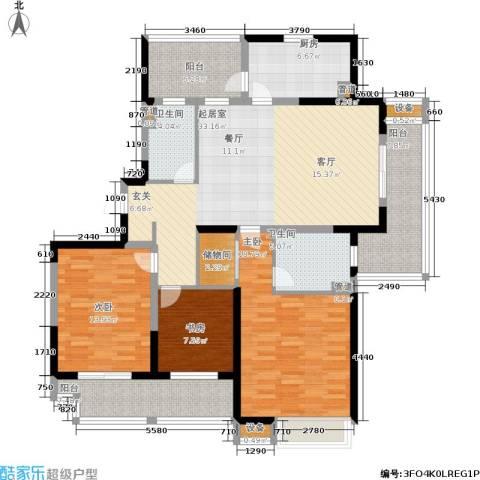 江桥万达广场3室0厅2卫1厨132.61㎡户型图