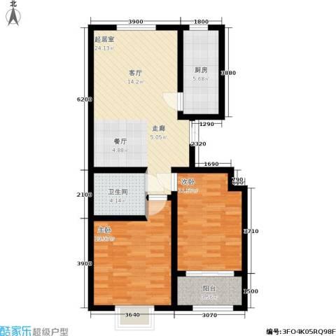 德荣·帝景2室0厅1卫1厨92.00㎡户型图