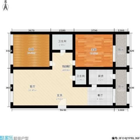 开发里2室1厅2卫1厨76.00㎡户型图