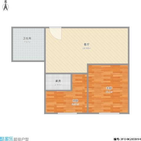 景泰花苑2室1厅1卫1厨78.00㎡户型图