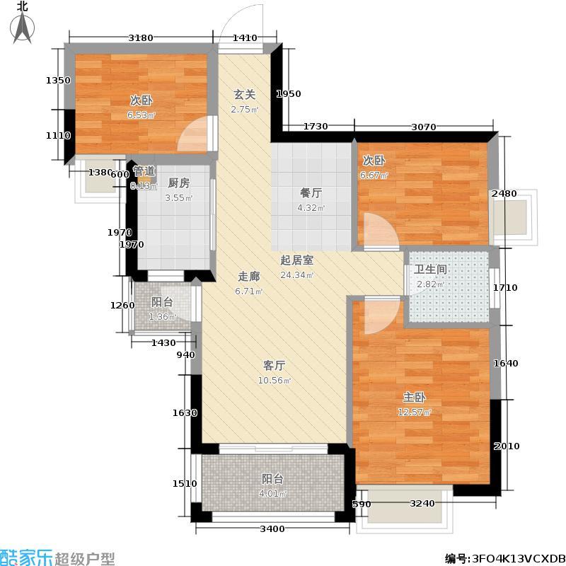 富盈四季华庭86.00㎡11-12栋标准层A3户型3室2厅