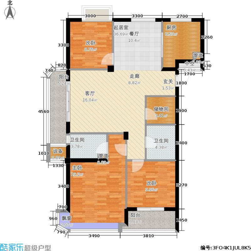 锦润公寓128.00㎡奇数层户型3室2厅